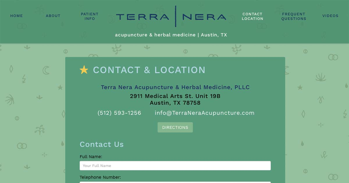Terra Nera Acupuncture & Herbal Medicine, PLLC 2911 Medical Arts St. Unit 19B, Austin, TX 78758 (512) 593-1256. Map, Directions, Email and Contact Form.